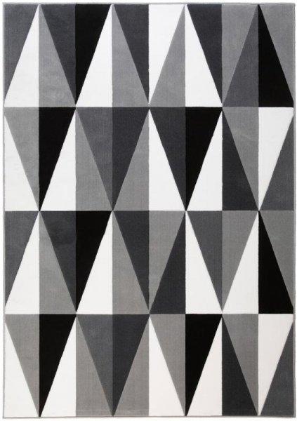 Teppich Dreieck Design Grau Weiß Schwarz