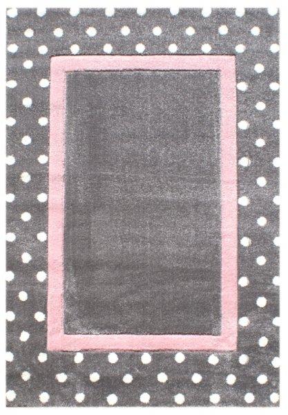 Kinderteppich Rechteck Punkte Grau Pastell Rosa