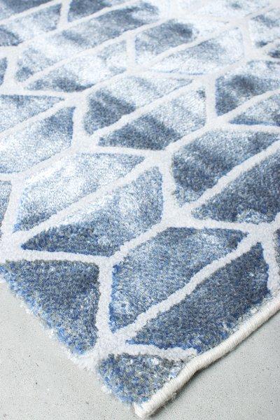 Teppich 70er Retro Used Design Blau