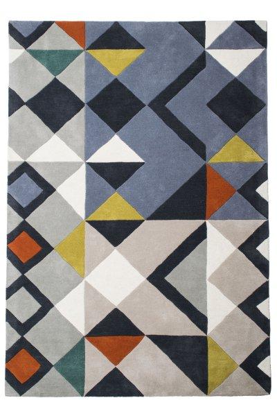 Hochflor Design Wollteppich Handgetuftet Bunt