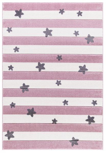 Teppich Streifen & Sterne Pink Weiß