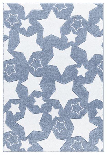 Sterne-Teppich EMILIA Blau Weiß