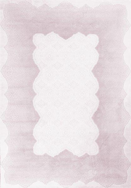 Retro Teppich Pastell Pink Weiß