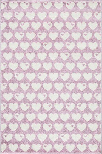 Kinderteppich Herzen Pink Weiß