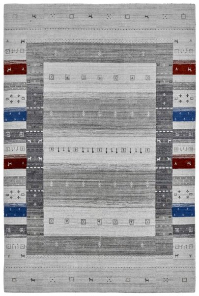 Teppich MYSTERY Handgewebt Grau Blau Rot