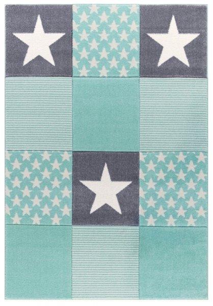 Teppich Sterne Muster Mint Grau Weiß