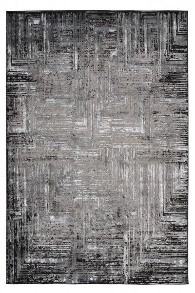 Desingteppich Merle grau Polyester mit Schrumpfanteil Moderner Teppich
