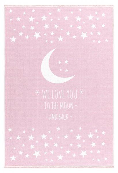 Kinderteppich Mond & Sterne Waschbar Pastell Rosa
