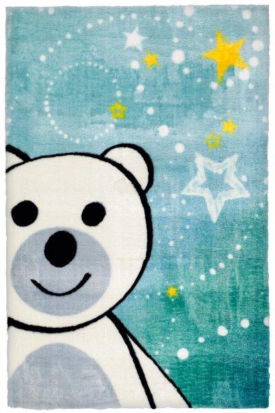 Kinderteppich Bär blau rechteckig Kinderzimmer Teppich