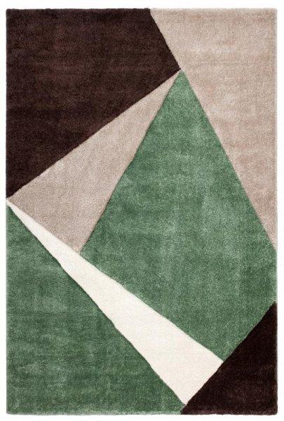 Hochflor Designer Teppich Jadegrün Braun Beige