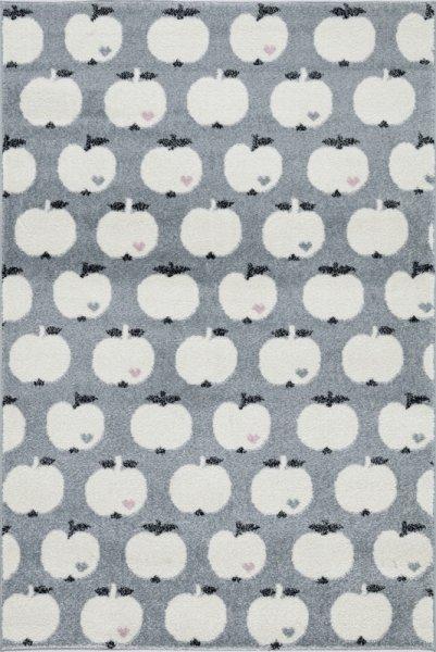 Kinderteppich Äpfel Weiß Grau