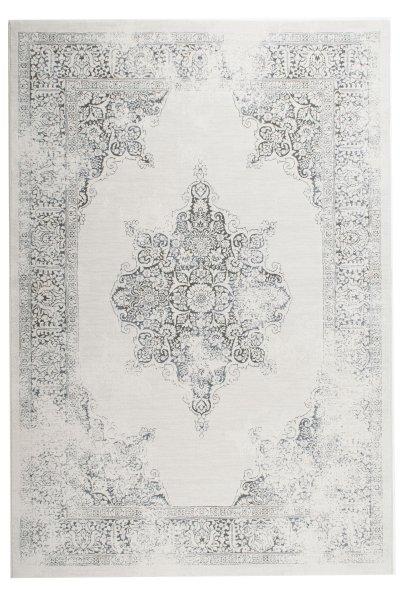 Vintage Teppich LOUISIANA Weiß Blau