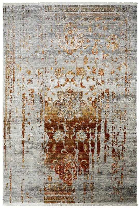 Teppich Vintage Look Grau Weiss Gold Braun Herzgewebt