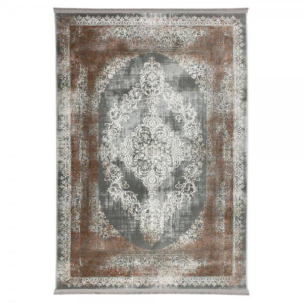 Schimmernd Orient Vintage Teppich Kupfer Grau