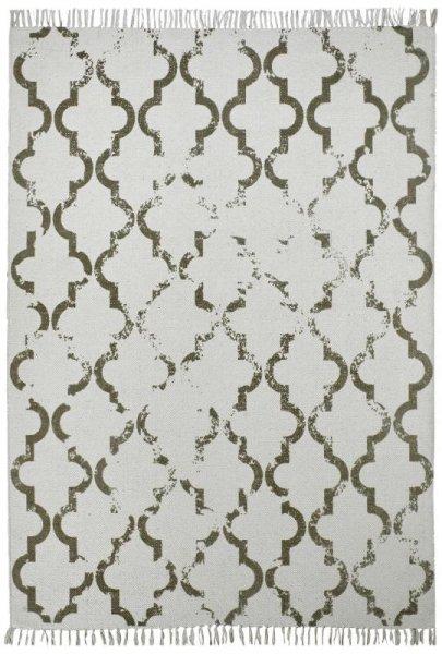 Baumwoll-Teppich Handgewebt Retro Used Creme Grau