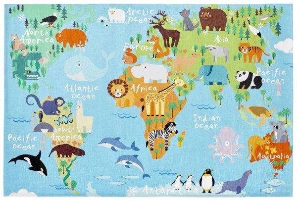 Kinderteppich multi world map rechteckig Tiermuster Kinderzimmerteppich