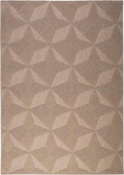 Flachgewebe Wollteppich Sand Braun