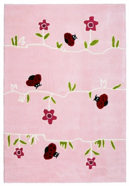 Kinderteppich Blumen & Maikäfer Rosa