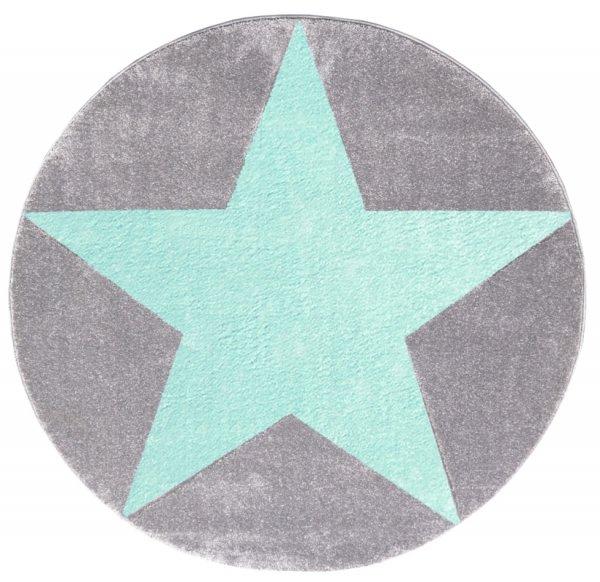 Stern-Teppich HENRY Rund Mint Grau