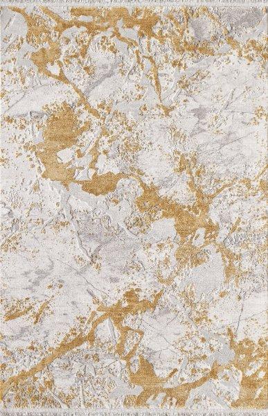 Designer Teppich MUNDO Gold Gelb Grau Creme