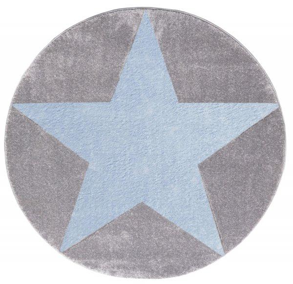 Stern-Teppich HENRY Rund Hellblau Grau