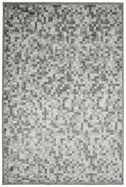 Flachgewebe Teppich Karo Muster Grau Taupe