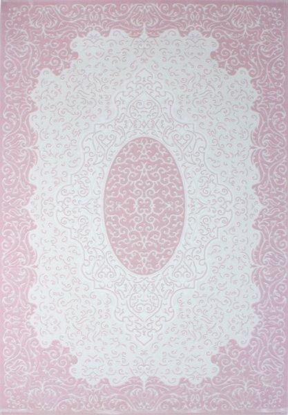 Retro Orientteppich Pastell Rosa Weiß