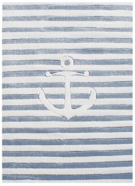 Kinderteppich Anker & Streifen Blau Weiß