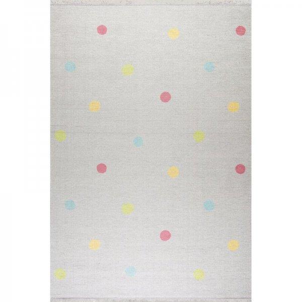 Kinderteppich Punkte Waschbar Grau Bunt
