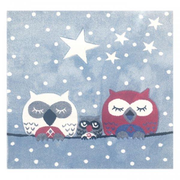 Kinderteppich Eulen Sterne Punkte Quadratisch Hellblau Weiß