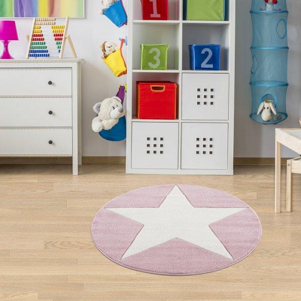Stern-Teppich HENRY Rund Pink Weiß