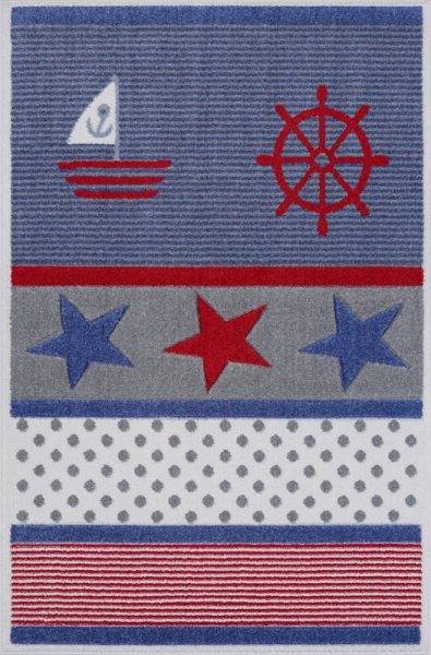 Kinderteppich Maritim Streifen Punkte Sterne Multicolor