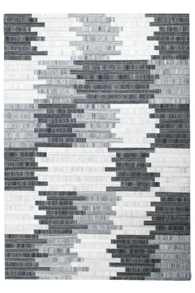 Teppich FINJA Handgewebt Streifen Design Grau Weiß