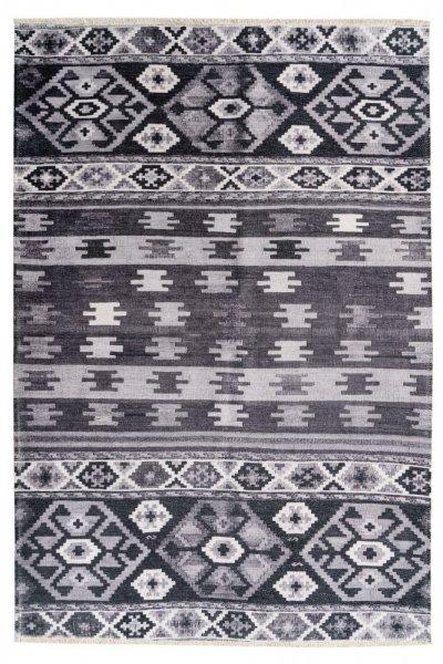 Design Teppich Ela hochwertig und modern Vintage Teppich grau