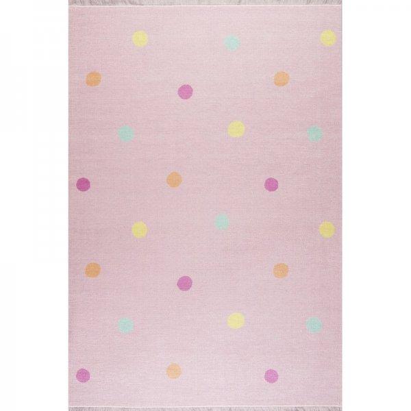 Kinderteppich Punkte Waschbar Pink